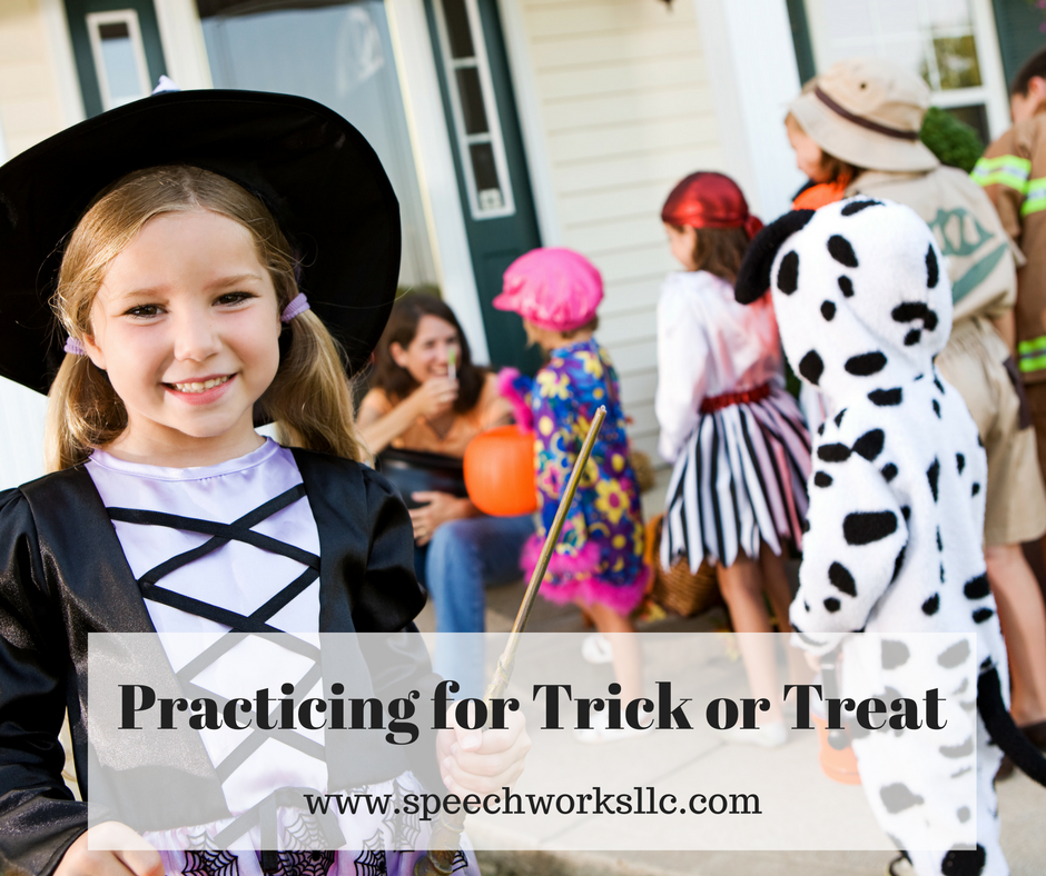Pretend play preparation for trick or treat